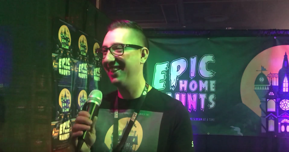 Director Josh Quillin at the Epic Home Haunts booth and Midsummer Scream