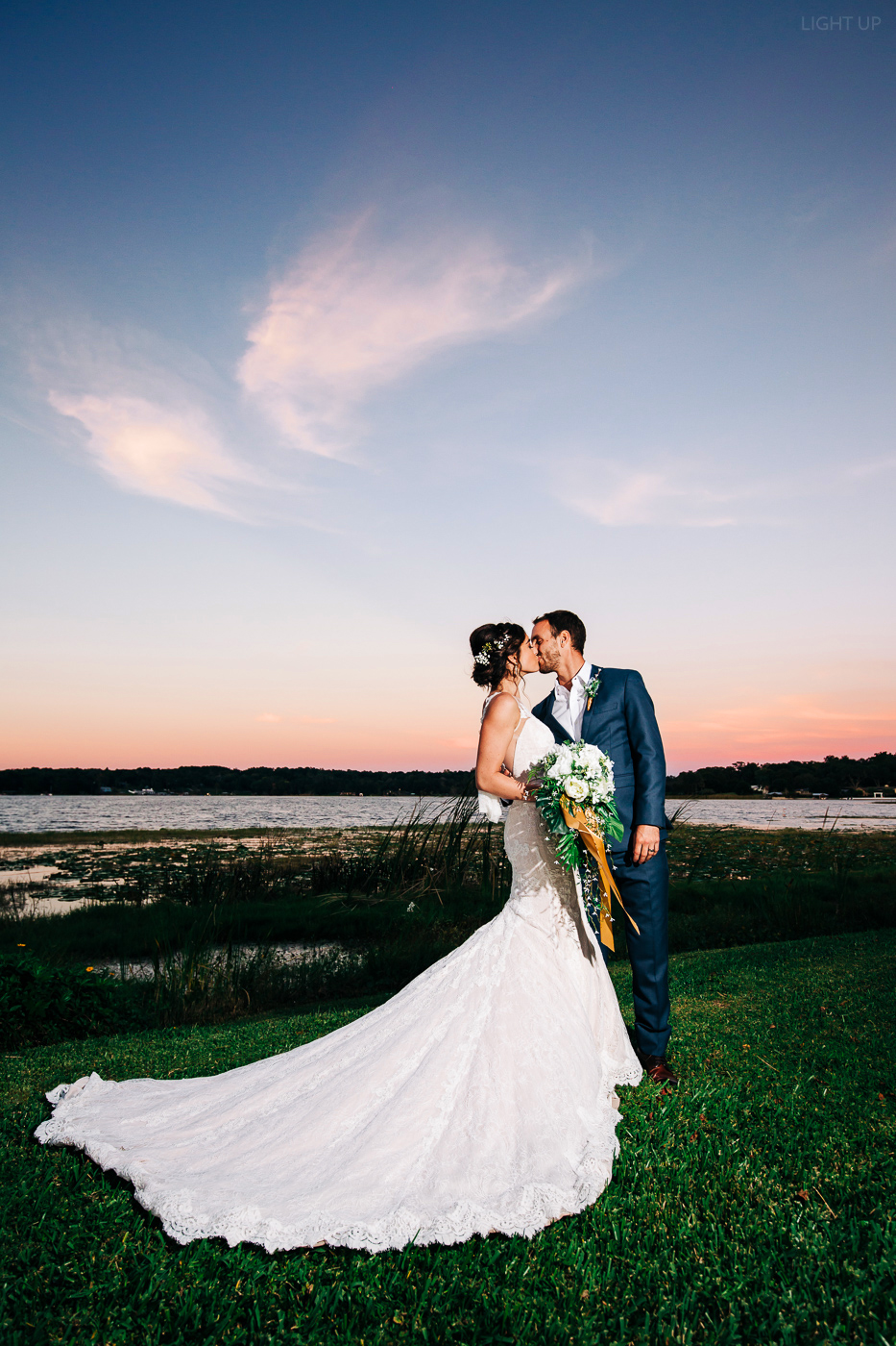 sunset wedding photo in mount dora