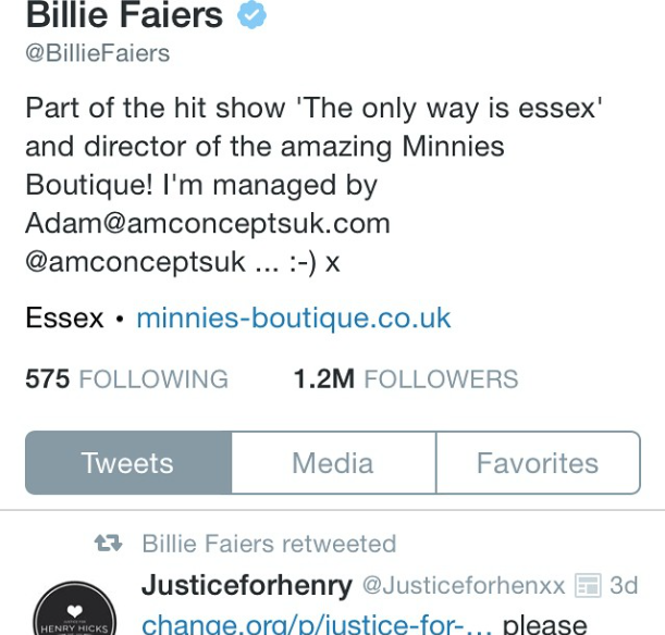 Billie Faiers, TOWIE star