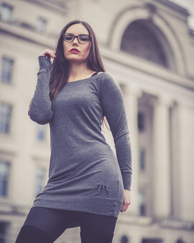 YK | Off the shoulder dress is available online in Grey and Black | young-kings.com - - -  #fashion #style #mensfashion #womensfashion  #fitted #smart #grey #fitfam #nice #simple #brand #branding #logo #dress #sexy #gym #casual #model #photoshoot #grey #black #glasses