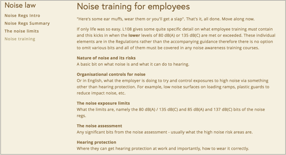 Noise training page