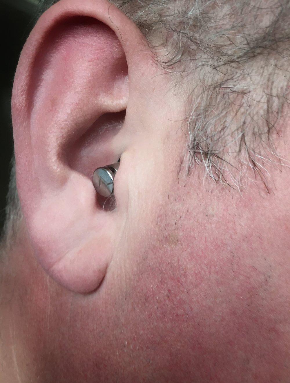 ISOLATE ear plug in use