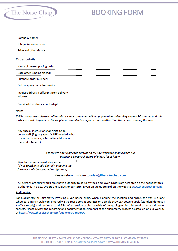 Audiometric testing booking form