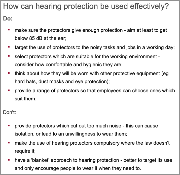HSE comments on effective hearing protection policies