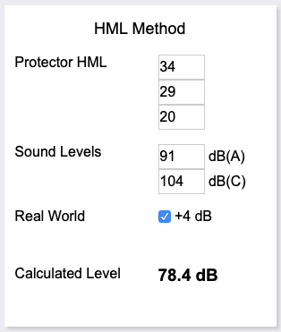 Even allowing 4dB for incorrect use, this protector is suitable for the risk, using HML to calculate it.