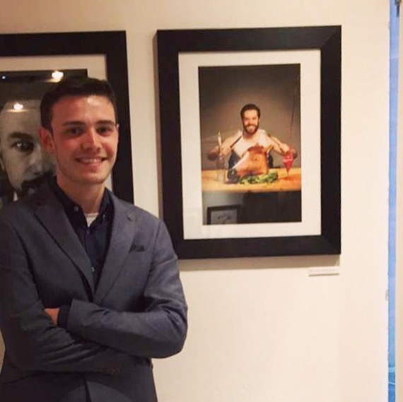 Me standing next to one of my printed images featuring Joe Rising.