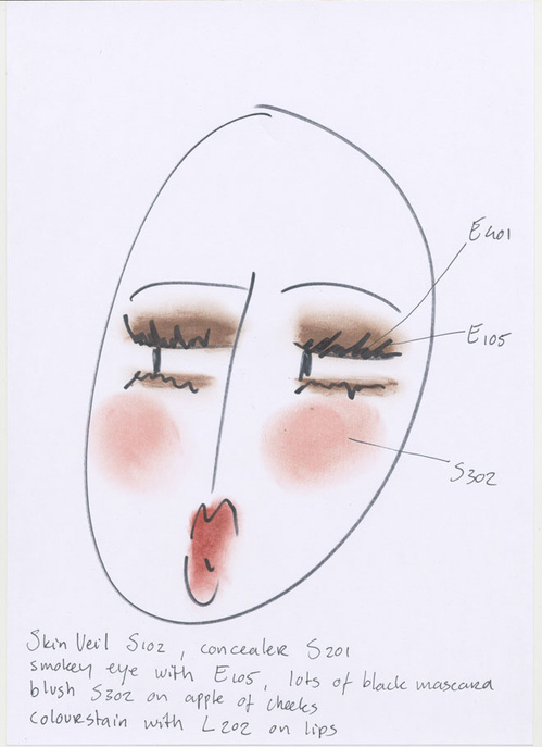 I only use my own make-up products. Seriously, they are honestly quick and easy to use! This face chart is my personal look, a new selfie designed just for Vogue.fr.   Ellis Faas  Icon Gallery, Makeup Show, March 28 and 29, California Market Center, 110 E 9th St, Los Angeles.  Ellis Faas  will give a talk on her style, Saturday March 28 from 1:30pm to 2:30pm www.themakeupshow.com