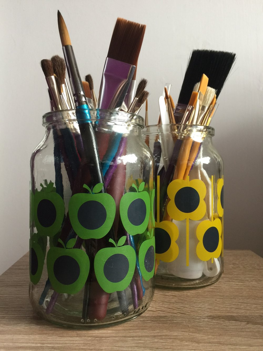 Orla Kiely coffee jar brush holders!