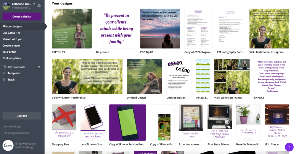 My Canva dashboard has lots of designs, some I've used, many I haven't!