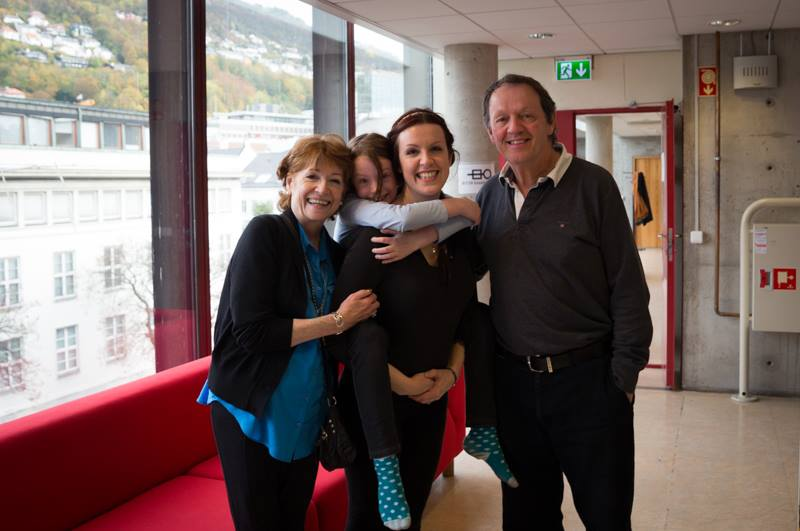 Whately family, backstage at the Grieghallen, Bergen- Madelaine Newton, Kitty Whately, Ivy, and Kevin Whately