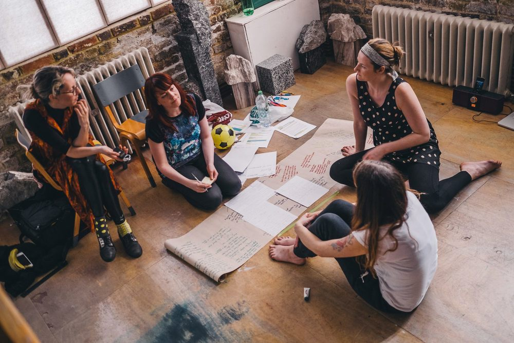 In the rehearsal room - Emma Houston, Jennifer Bates, Erin Hutching, Sophie Stone. Photo by David Monteith-Hodge
