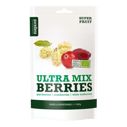 ULTRA MIX - jagody goji / morwa biała / żurawina Suszone jagody goi, żurawina oraz owoce białej morwy z dodatkiem koncentratu soku z jabłek, pochodzące z hodowli organicznych. WIĘCEJ INFORMACJI >>