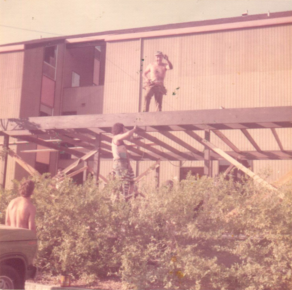 Richard and his dad building the outdoor patio in 1972