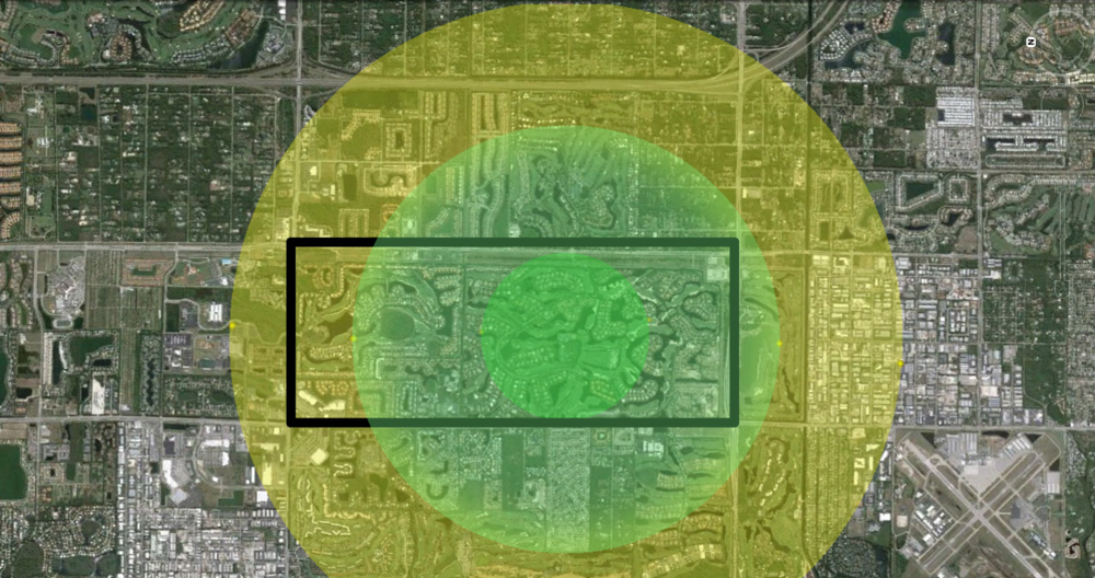 ArcherFRS Coverage Area: Each ring representing a minute in travel time.  Brain damage occurs after 4 minutes.