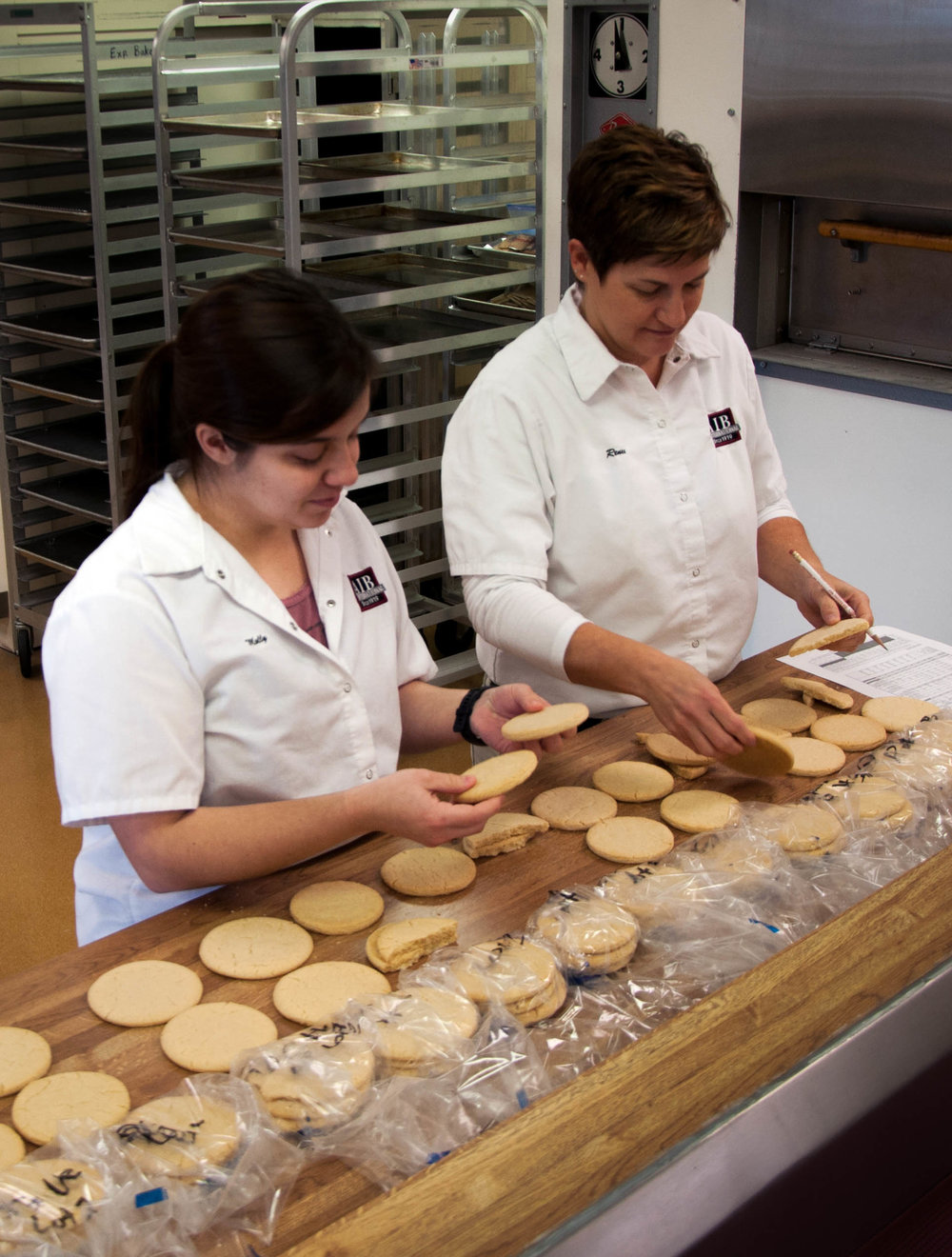 Researchers use a subjective evaluation of cookies to compare flour quality.