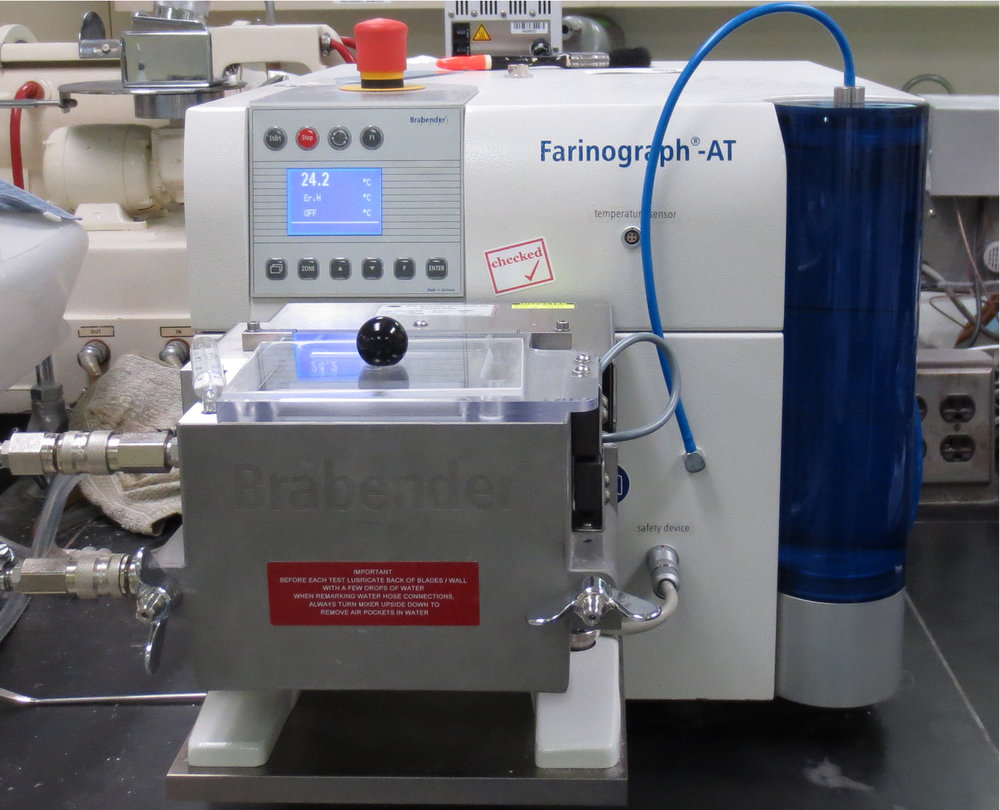 A Farinograph has long been the industry standard for recording mixers. Measurements are based on measuring the resistance of the dough to mixing over an extended period of time.
