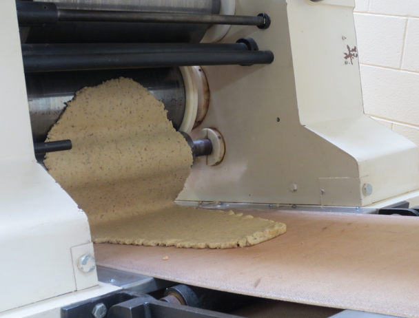 This is the pre-sheeter at the head of the cracker sheeting line.