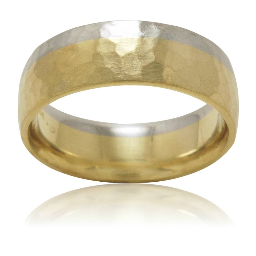 Custom Two-Tone Assymetrical Hammer Finish Man's Wedding Band
