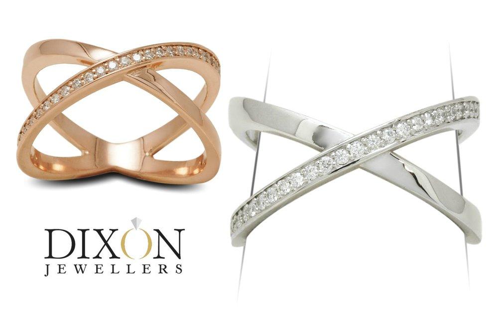 Custom 'X' Diamond Rings