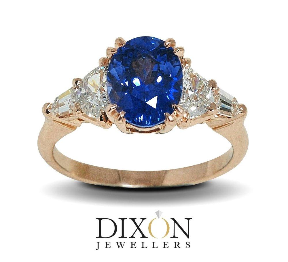 Custom Sapphire & Diamond Ring in Rose Gold