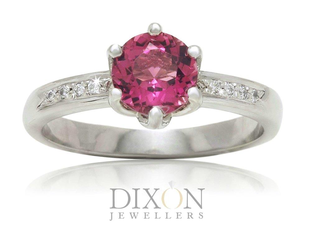 Custom Six-Claw Pink Tourmaline & Diamond Ring
