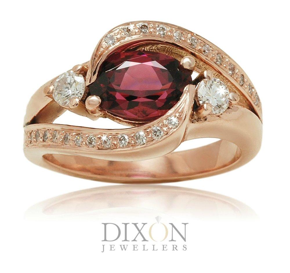 Custom Spinel & Diamond Engagement Ring in Rose Gold