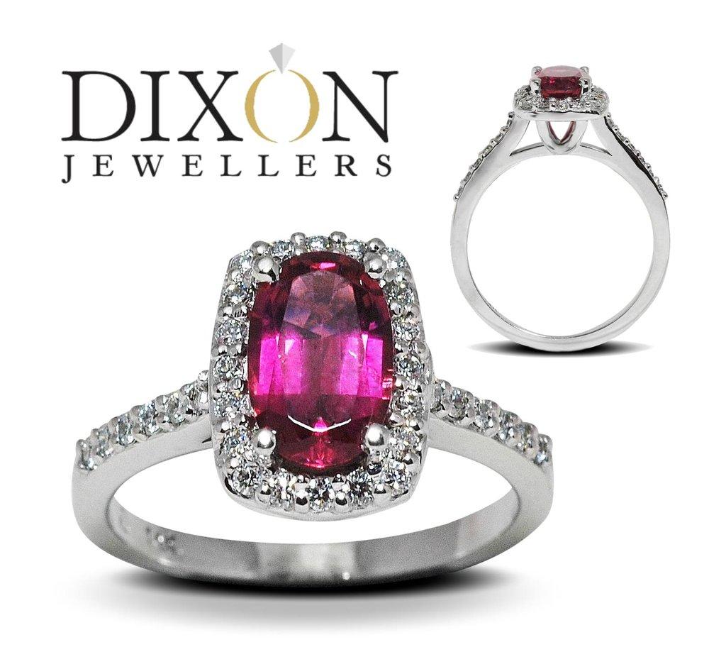 Custom Pink Tourmaline & Diamond Halo Ring