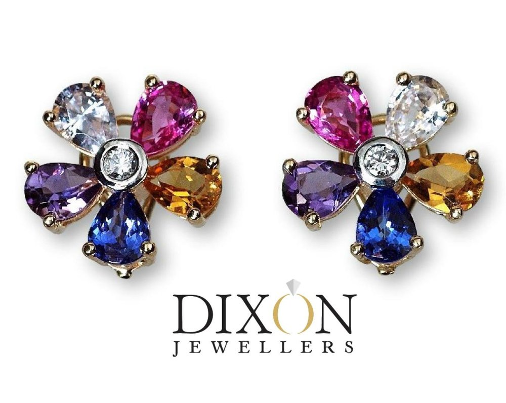 Custom Floral Motif Diamond & Gemstone Earrings
