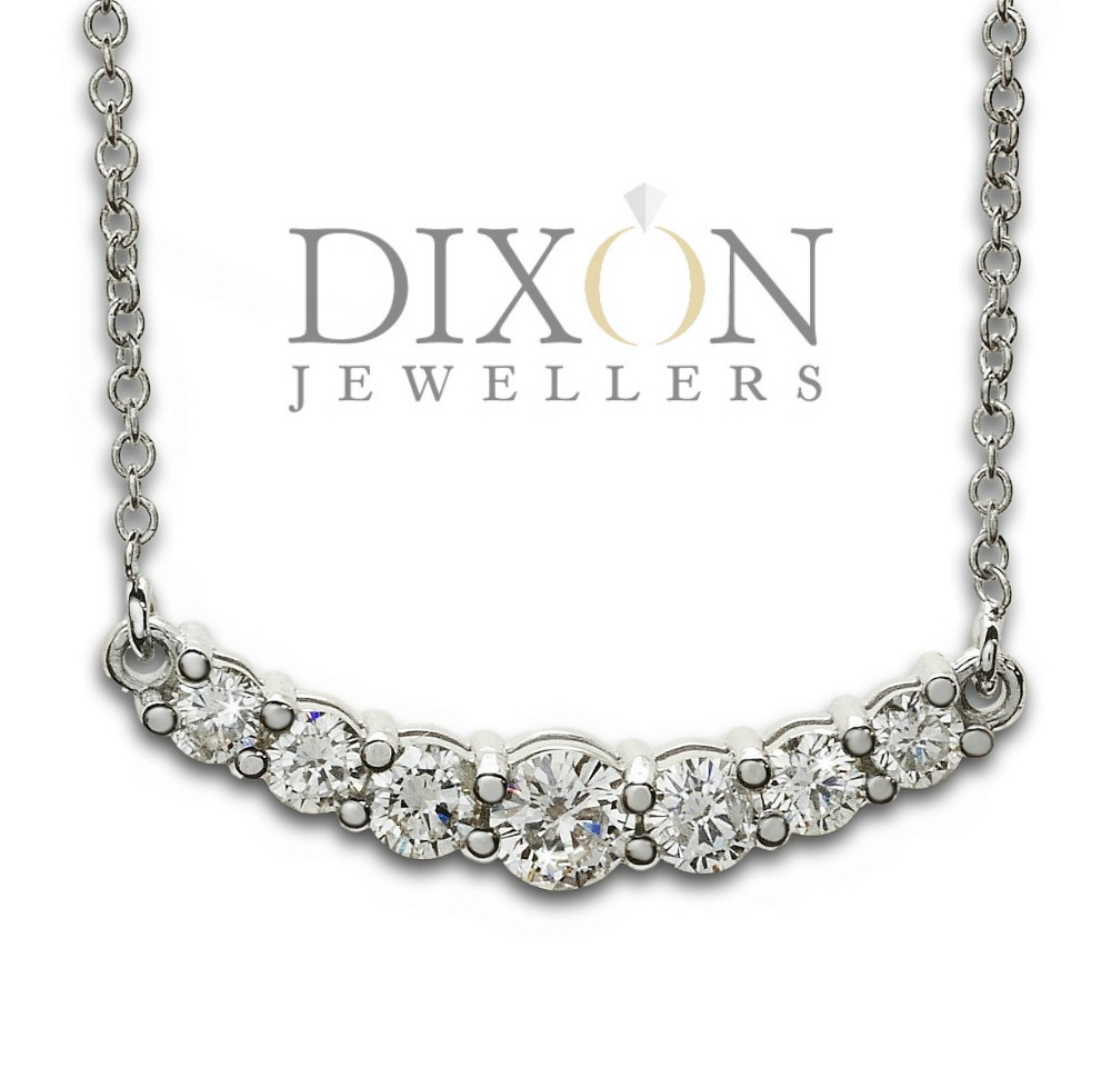 Custom Curved Diamond Bar Necklace