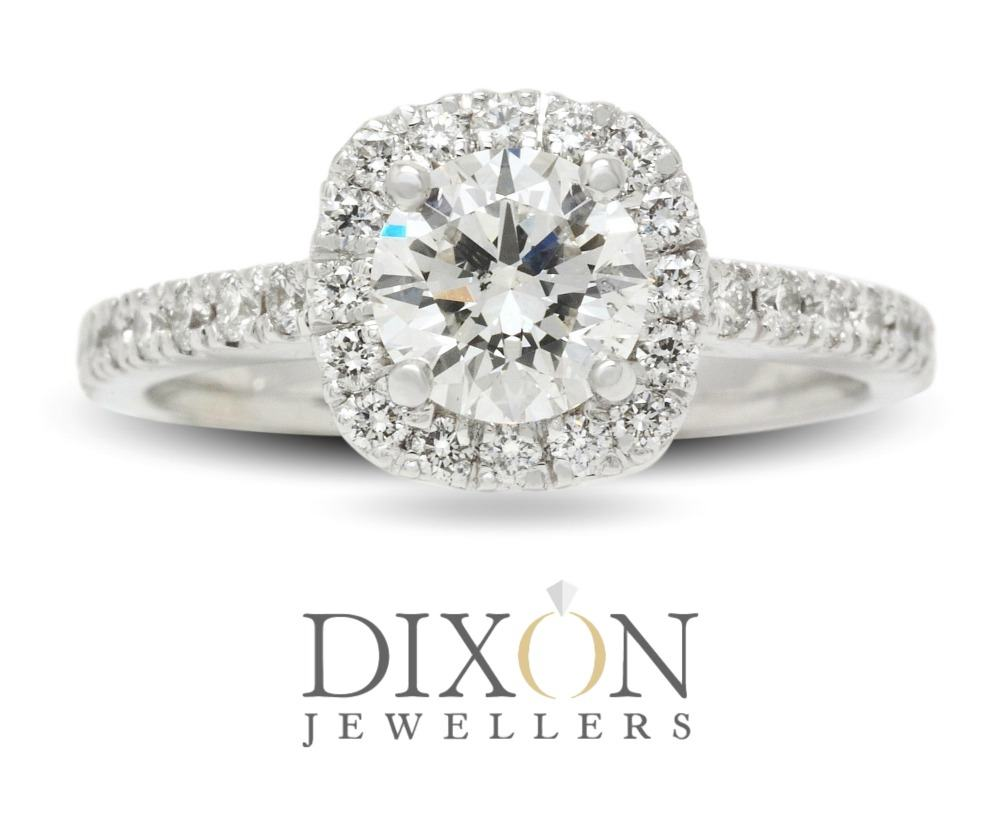 Soft Square Halo Custom Diamond Engagement Ring