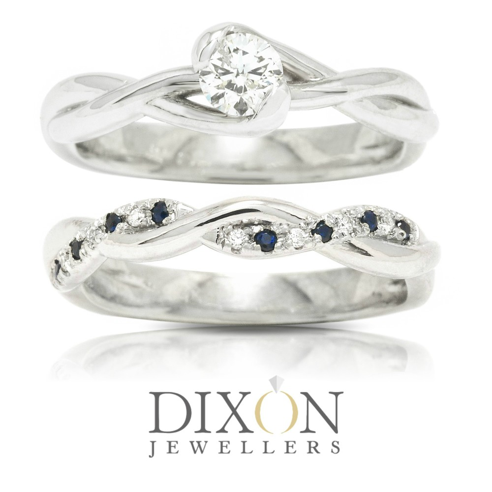Bypass Style, Twisted Band, Custom Engagement Ring with Matching Sapphire & Diamond Wedding Band
