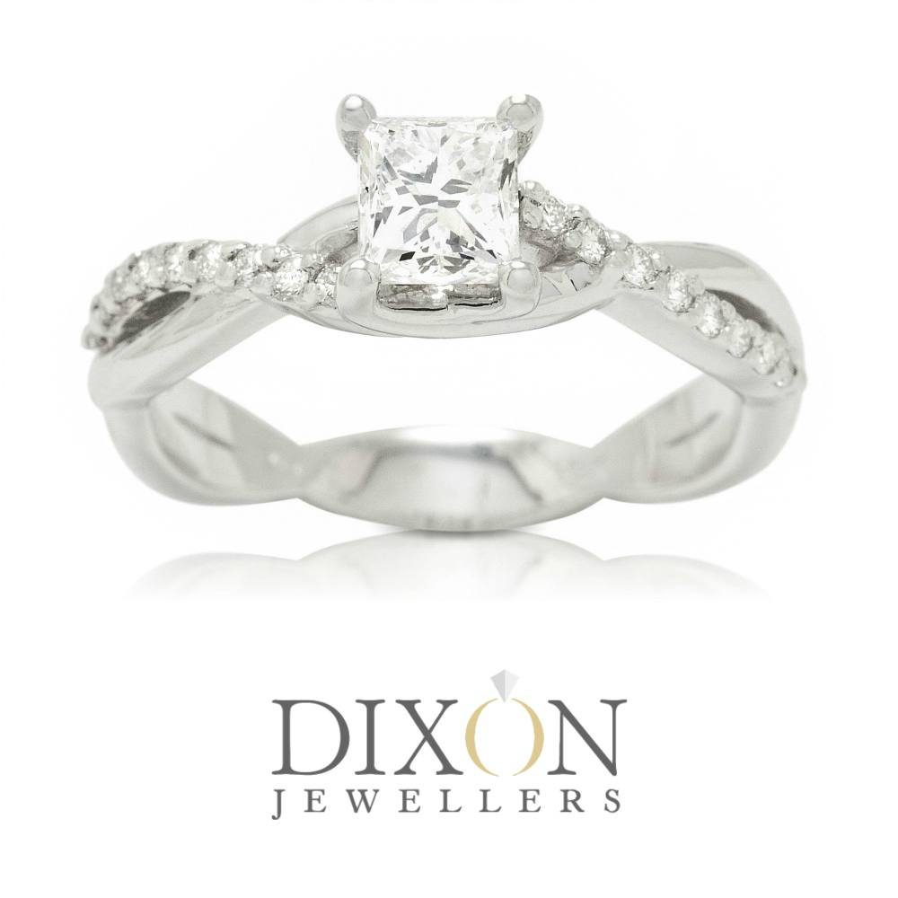 Princess Cut Twisted Band Custom Engagement Ring