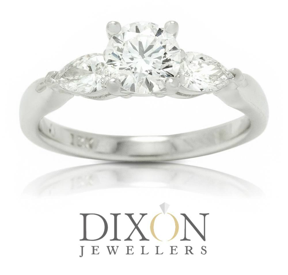 Custom Engagement Ring with Round Centre Stone Accented by Pear Cut Shoulder Stones