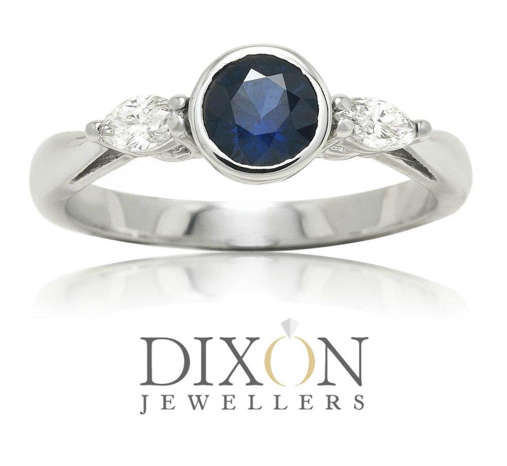 Custom Bezel Set Sapphire and Diamond Ring