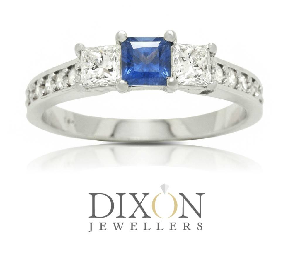 Custom Princess Cut Sapphire & Diamond Engagement Ring