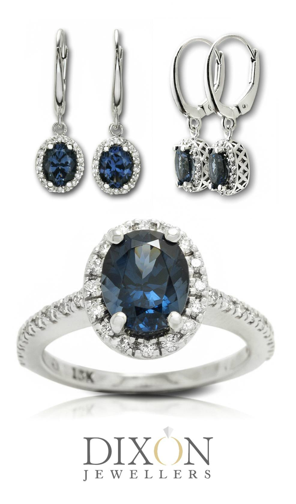 Custom Blue Spinel and Diamond Halo Engagement Ring with Matching Drop Earrings