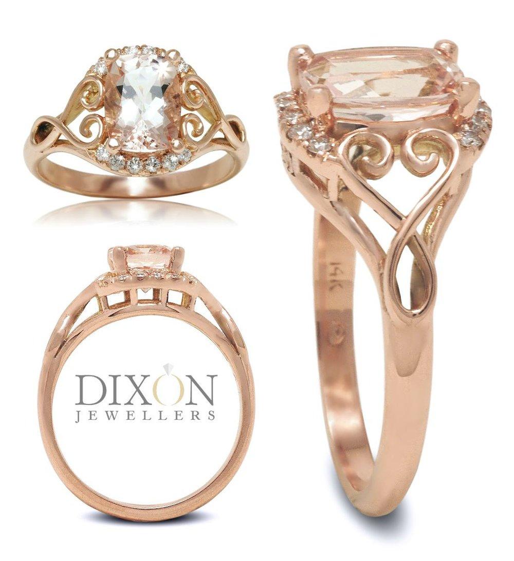 Custom Morganite Engagement Ring in Rose Gold