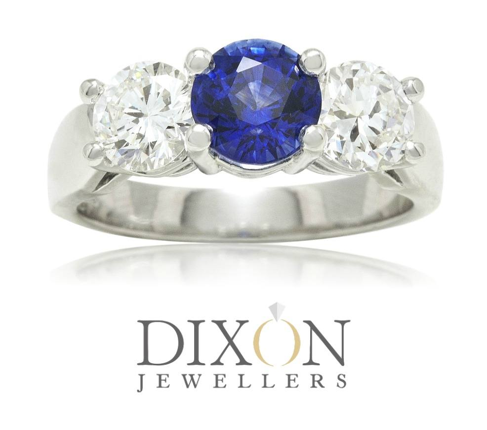 Custom Sapphire & Diamond Ring in Platinum