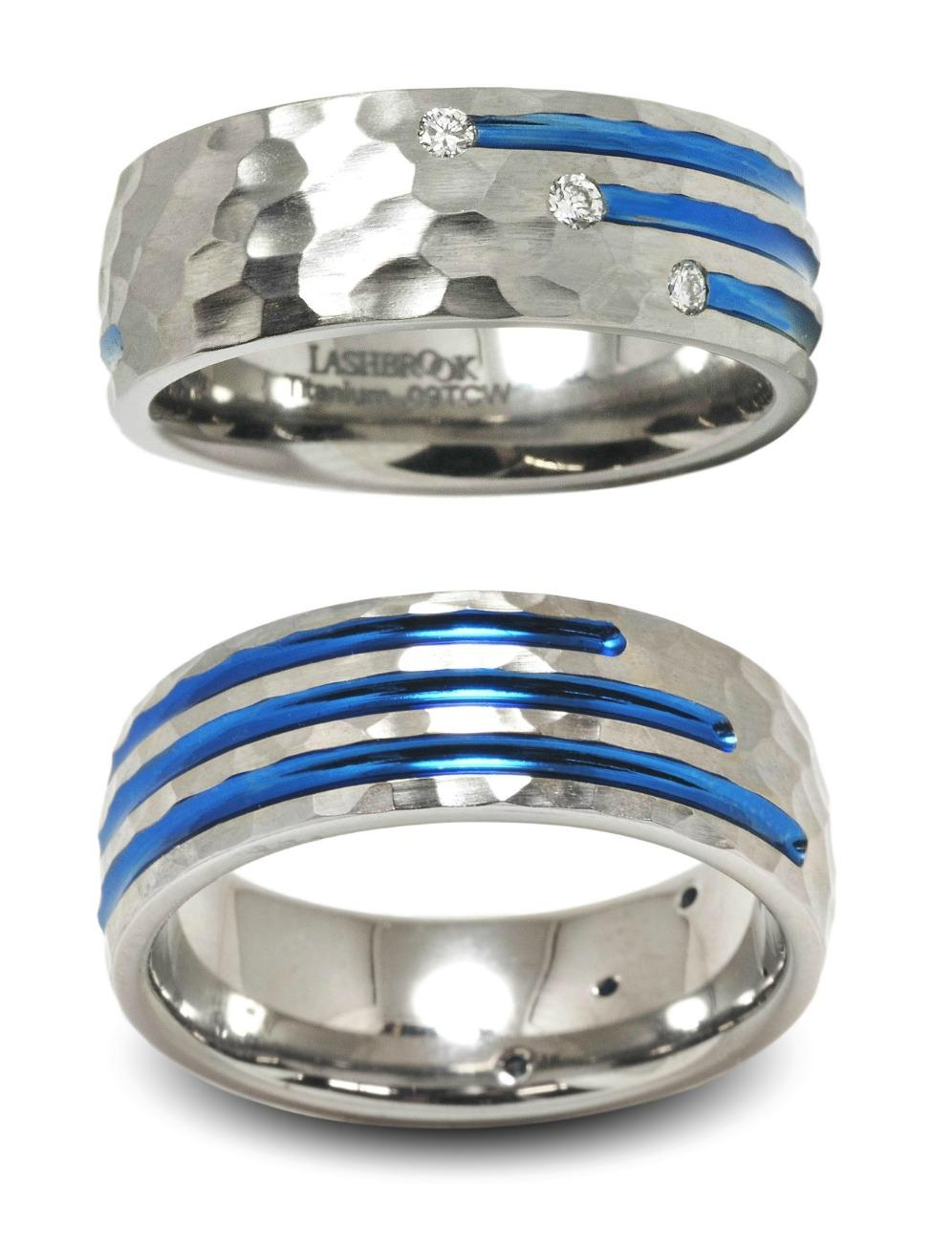 Anodized Titanium and Diamond Wedding Band from Lashbrook Designs