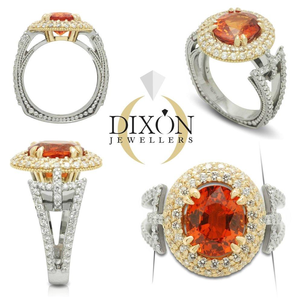 Custom Spessartite Garnet and Diamond Ring