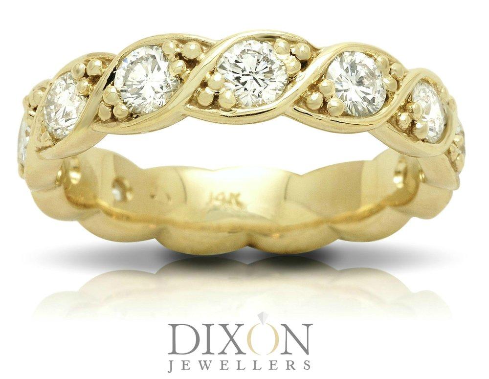 Custom Twisted Diamond Ring in Yellow Gold
