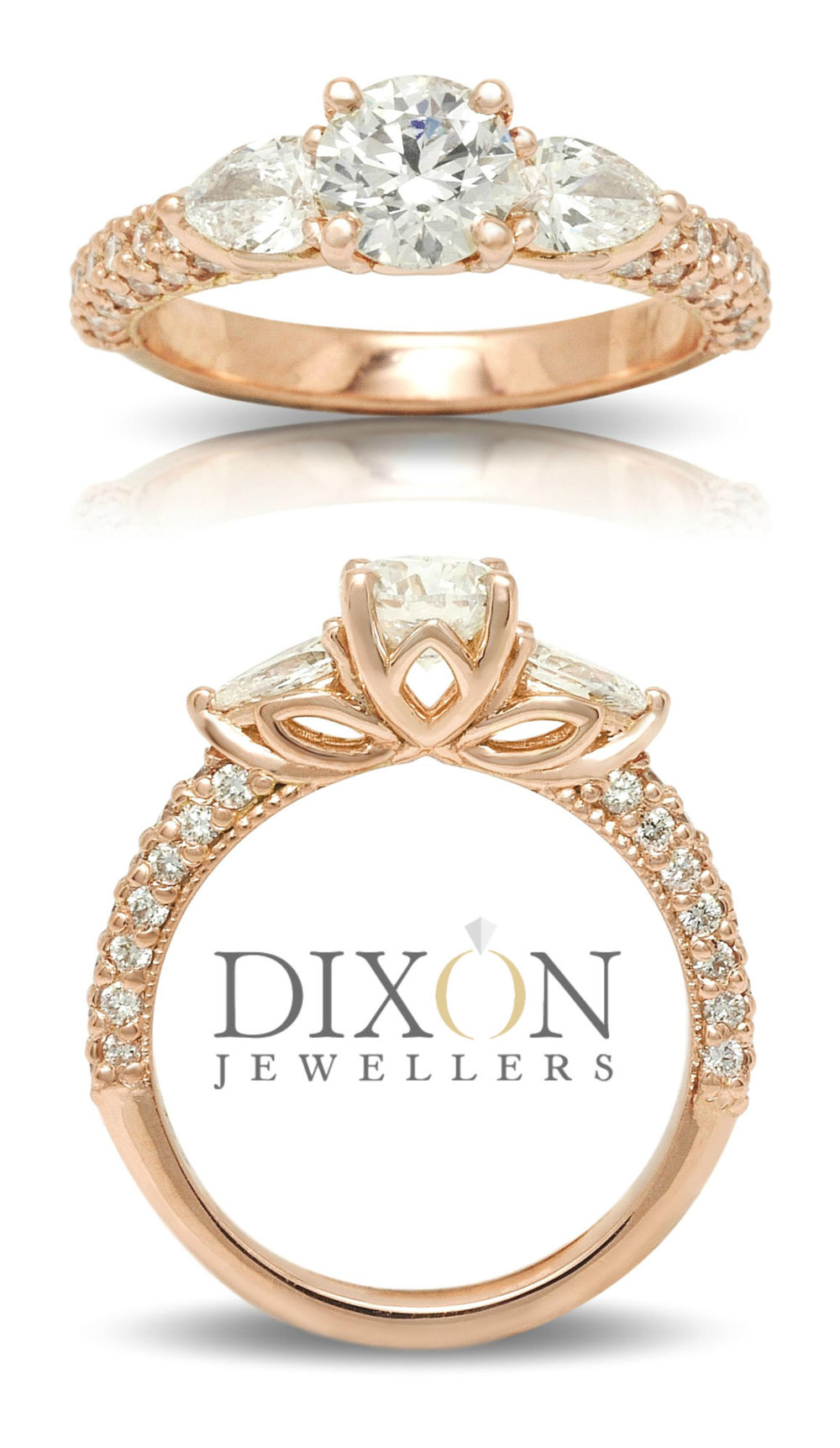 Custom Pavé Set Diamond Engagement Ring in Rose Gold