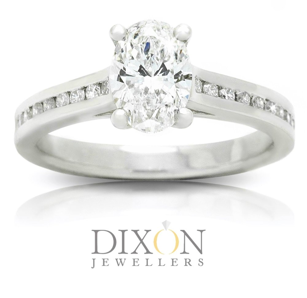 Custom Made Oval Diamond Engagement Ring with Channel Set Side Stones