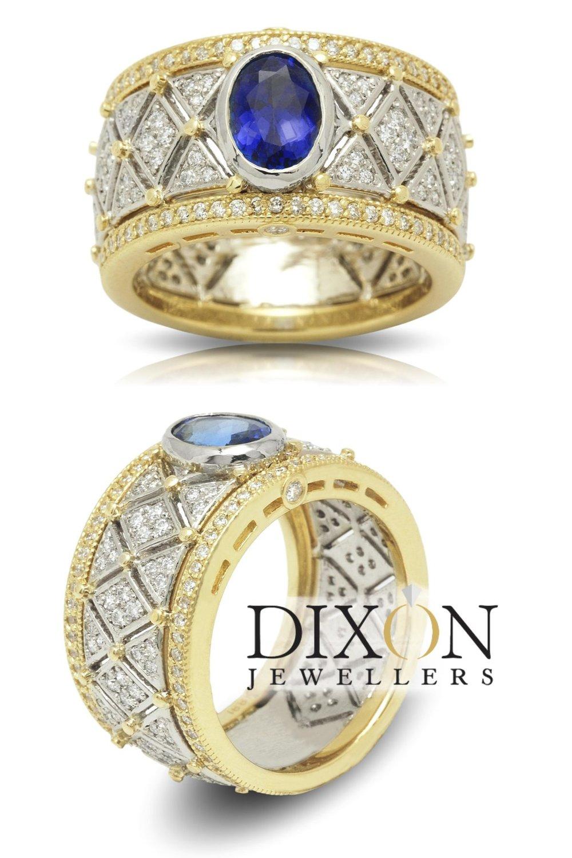 Custom Tanzanite and Diamond Wide Band Ring