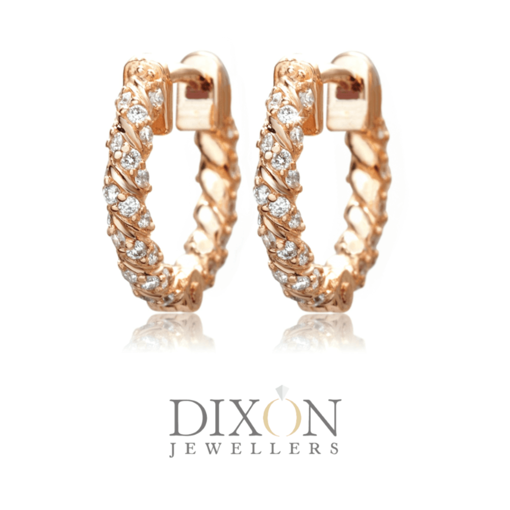 Twisted Diamond Hoops in Rose Gold