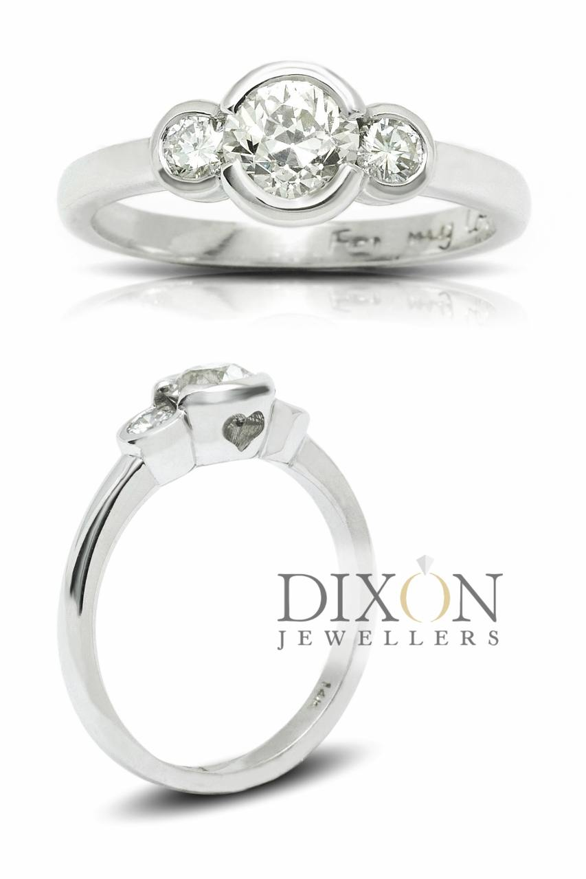 Three Stone Bezel Engagement Ring with Old Cut Diamond