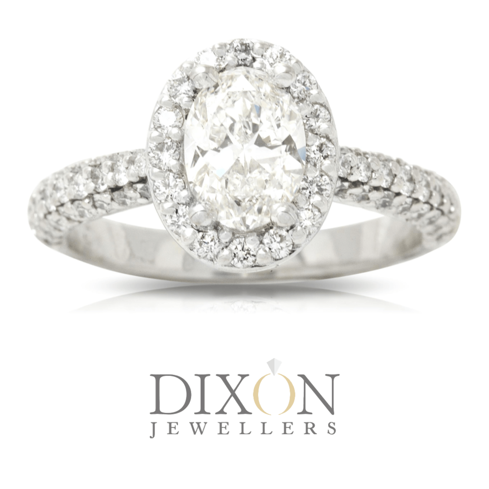 Oval Halo Engagement Ring with Pavé Set Shoulders