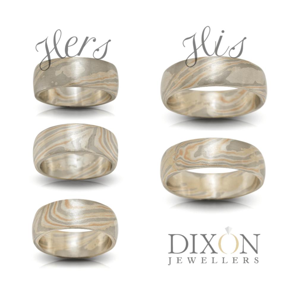 Custom Mokume Gane Wedding Rings