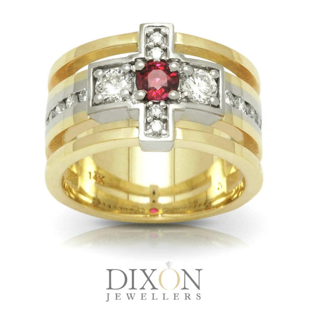 Men's Custom Ruby and Diamond Ring