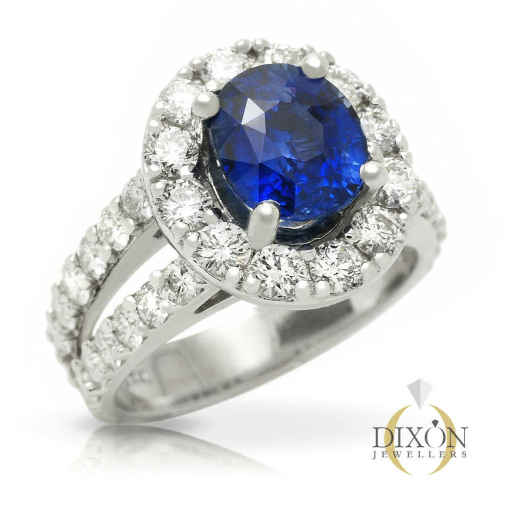 Blue Sapphire Ring with Diamond Halo and Split Shank